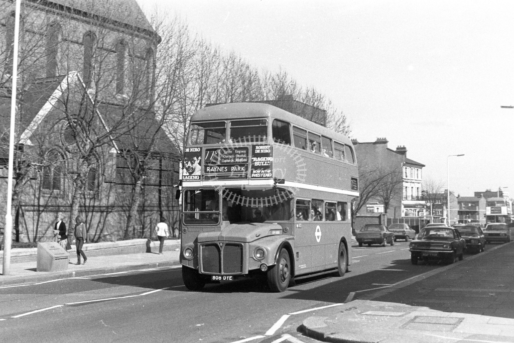 London Transport AEC Routemaster RM1808  on route 77C 808DYE  at Lavender Hill  in 1980s - JGS Smith