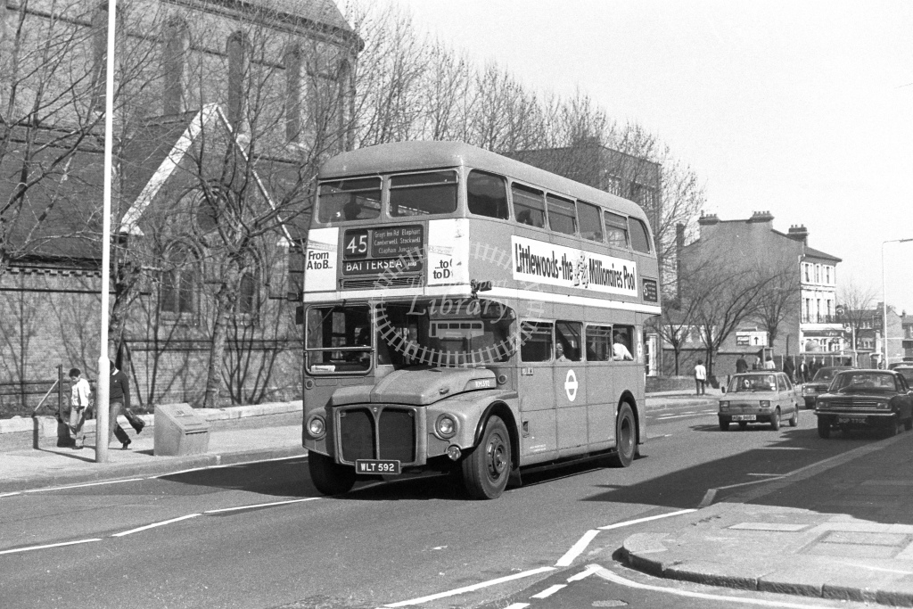 London Transport AEC Routemaster RM592  on route 45 WLT592  at Lavender Hill  in 1980s - JGS Smith