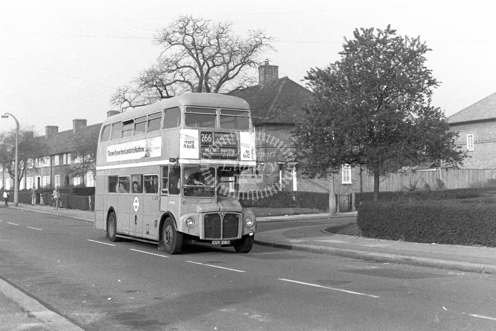 London Transport AEC Routemaster RM2216  on route 266 CUV216C  at Burnt Oak  in 1980s - JGS Smith