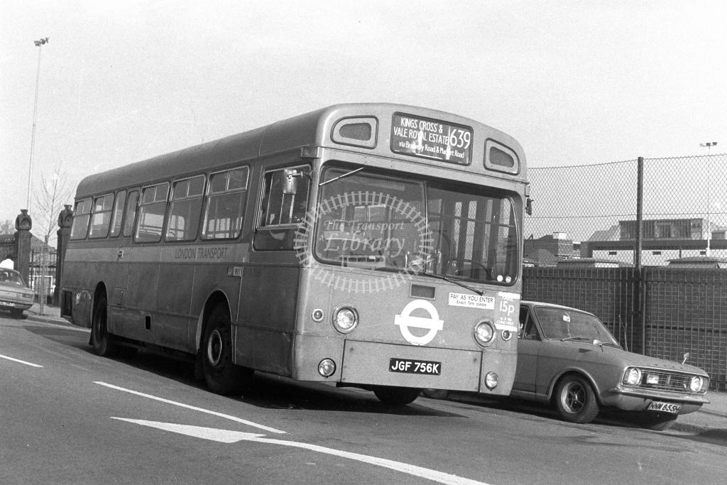 London Transport AEC Swift SMS756  on route 639 JGF756K  at Lower Holloway  in 1980s - JGS Smith