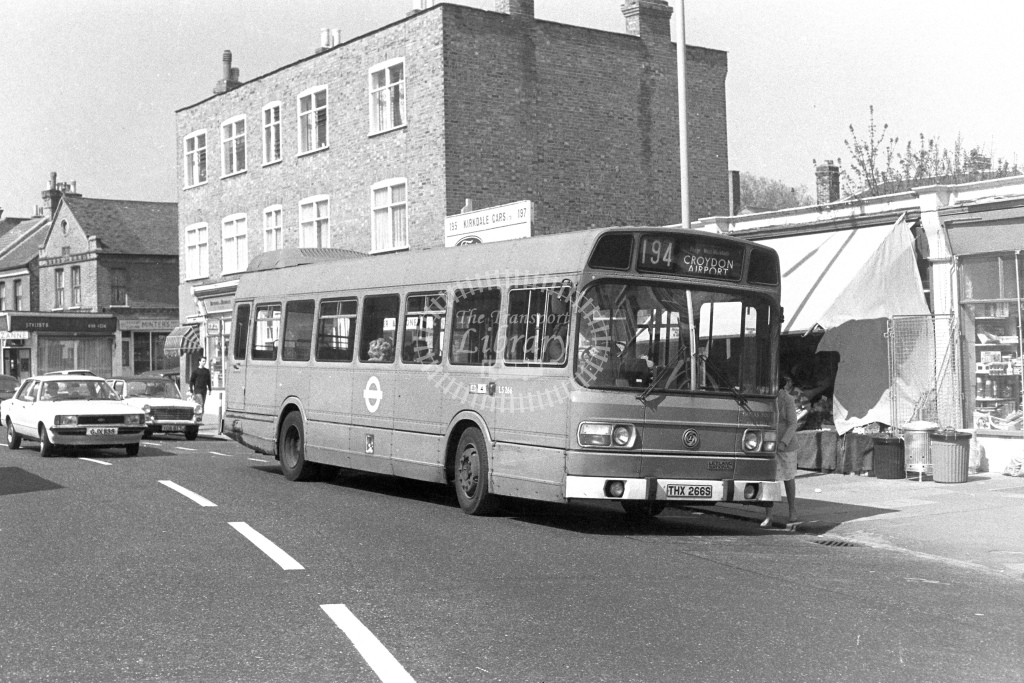 London Transport Leyland National LS266  on route 194 THX266S  in 1980s - JGS Smith