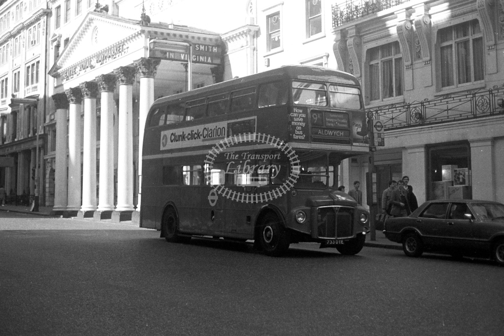 London Transport AEC Routemaster RM1733  on route 9A 733DYE  at Haymarket  in 1980s - JGS Smith