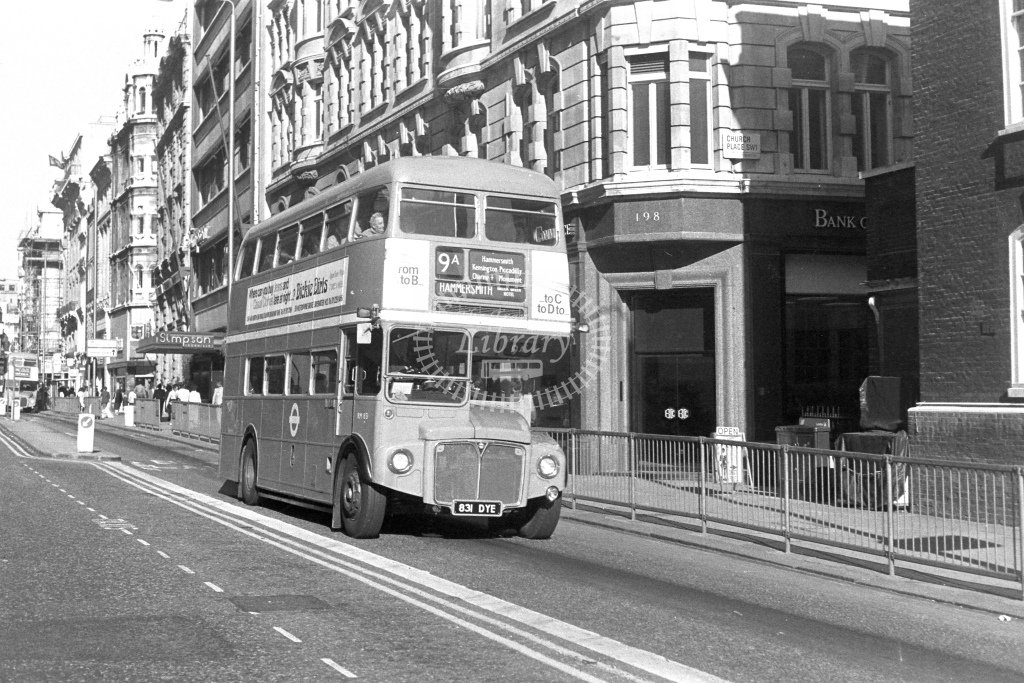 London Transport AEC Routemaster RM1831  on route 9A 831DYE  at Piccadilly  in 1980s - JGS Smith