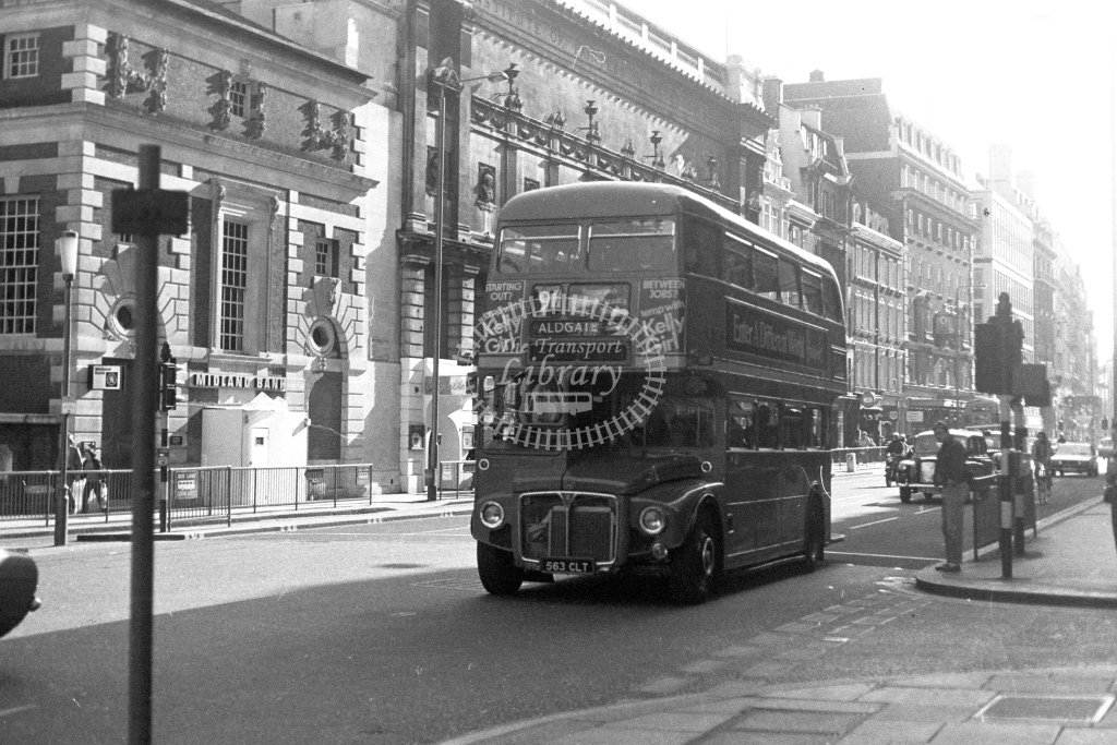 London Transport AEC Routemaster RM1563  on route 9A 563CLT  at Piccadilly  in 1980s - JGS Smith