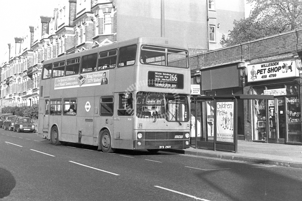 London Transport MCW Metrobus M261  on route 266 BYX261V  at Willesden  in 1980s - JGS Smith