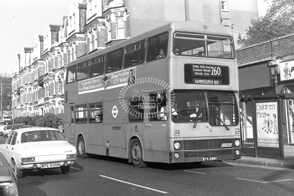 London Transport MCW Metrobus M269  on route 260 BYX269V  at Willesden  in 1980s - JGS Smith