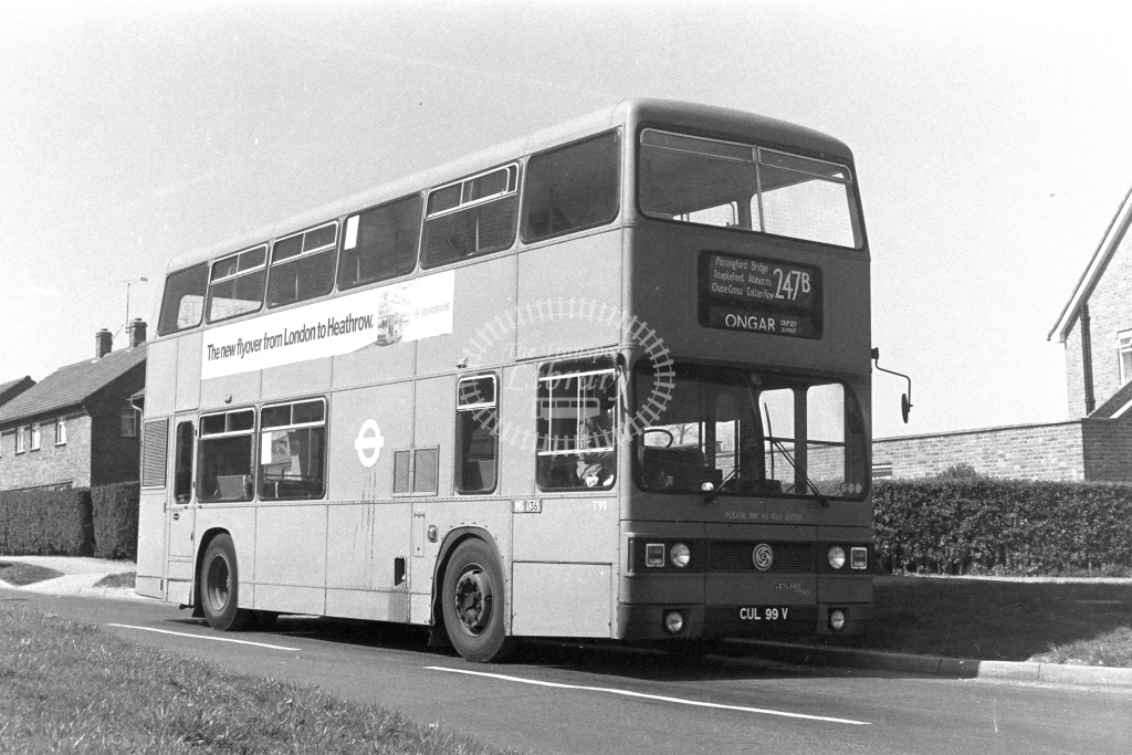 London Transport Leyland Titan T99  on route 247B CUL99V  at Ongar  in 1980s - JGS Smith