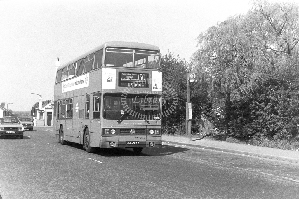London Transport Leyland Titan T204  on route 150 CUL204V  at Chigwell Row  in 1980s - JGS Smith
