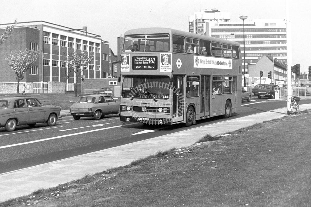 London Transport Leyland Titan T252  on route 162 GYE252W  at Barking  in 1980s - JGS Smith