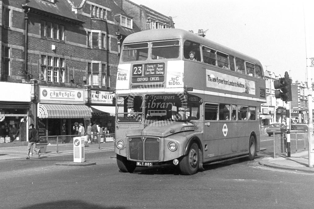 London Transport AEC Routemaster RML885  on route 23 WLT885  at East Ham  in 1980s - JGS Smith