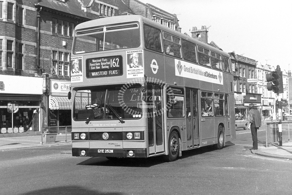 London Transport Leyland Titan T252  on route 162 GYE252W  at East Ham  in 1980s - JGS Smith