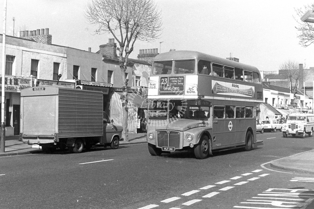 London Transport AEC Routemaster RM141  on route 23 VLT141  at Barking  in 1980s - JGS Smith