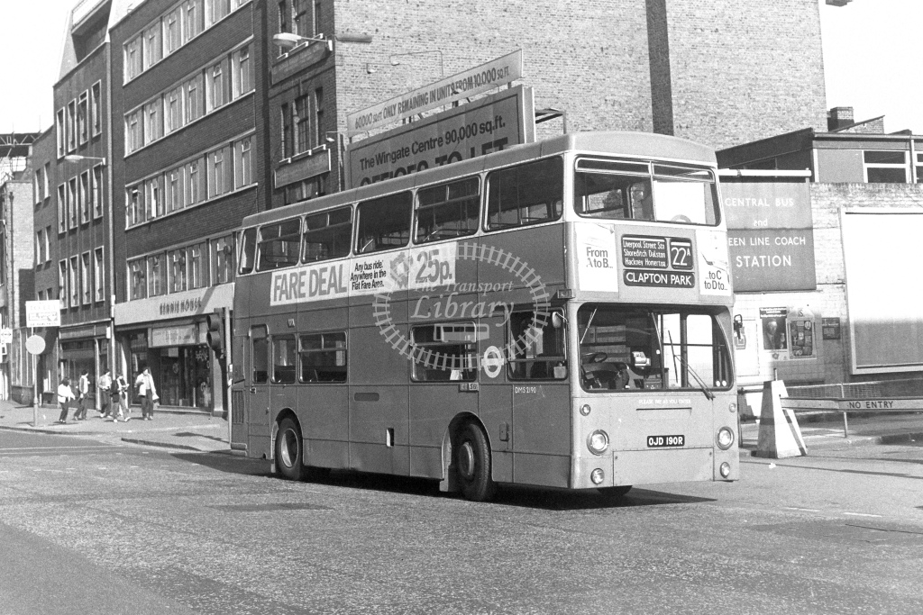 London Transport Leyland Fleetline DMS2190  on route 22A OJD190R  at Aldgate  in 1980s - JGS Smith