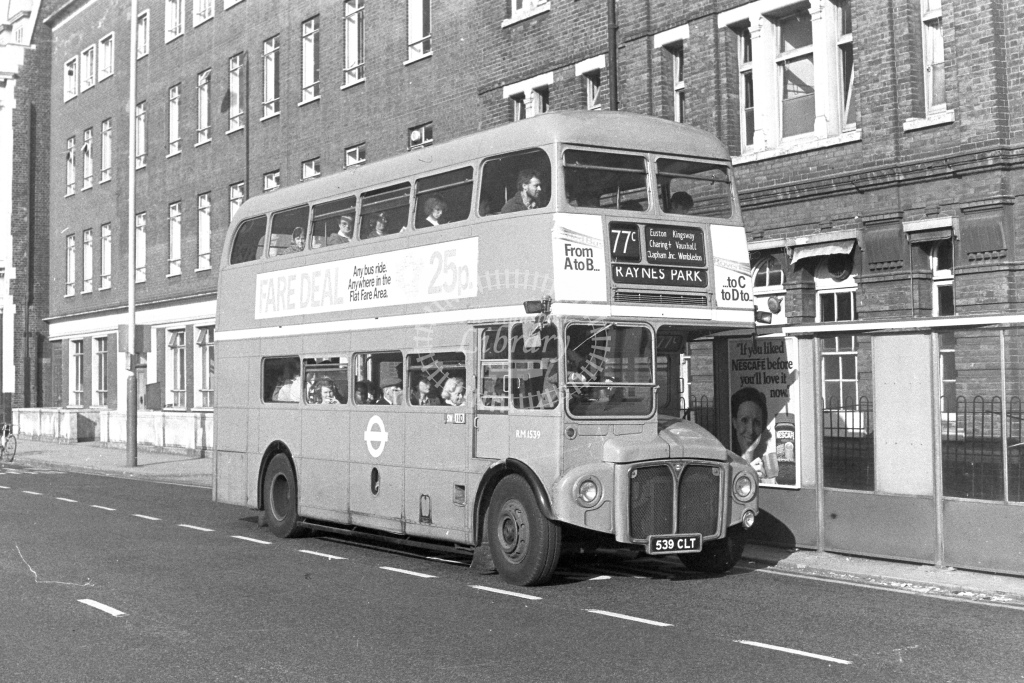 London Transport AEC Routemaster RM1539  on route 77C 539CLT  in 1980s - JGS Smith