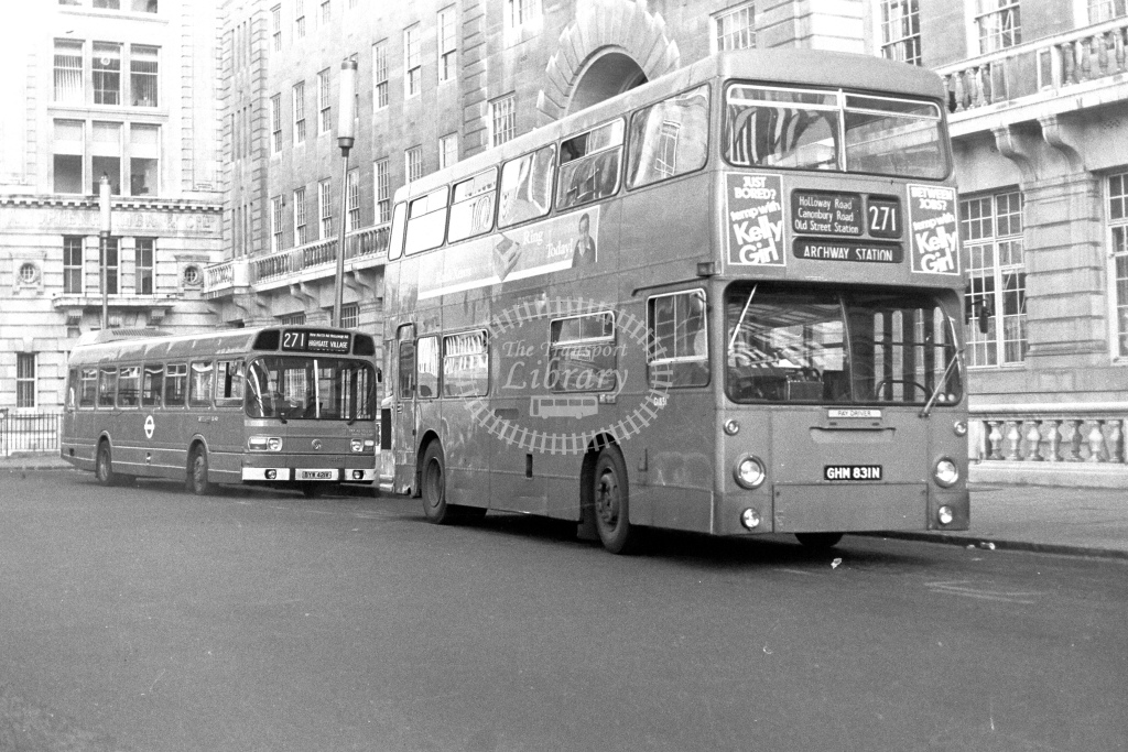 London Transport Daimler Fleetline DM1831  on route 271 GHM831N  at Moorgate  in 1980s - JGS Smith