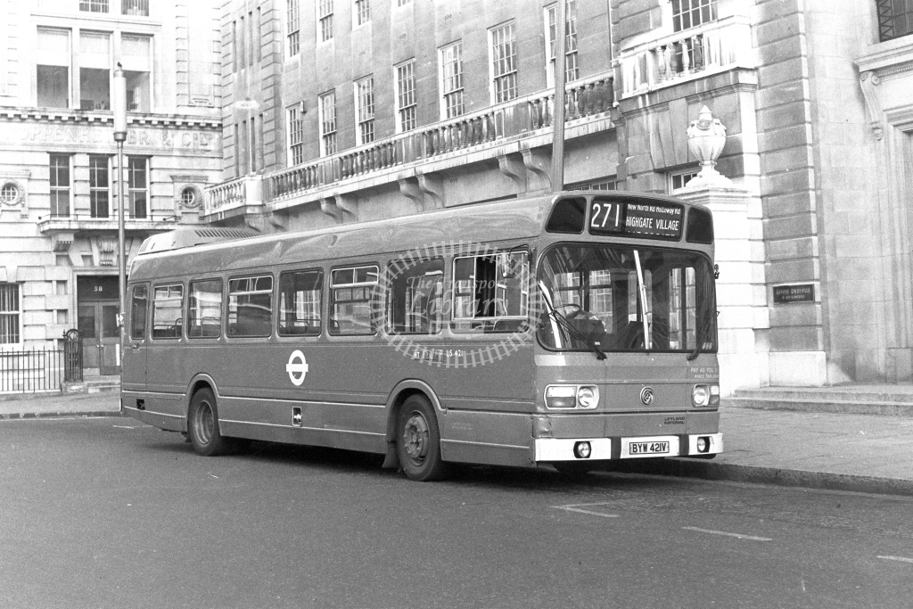 London Transport Leyland National LS421  on route 271 BYW421V  at Moorgate  in 1980s - JGS Smith