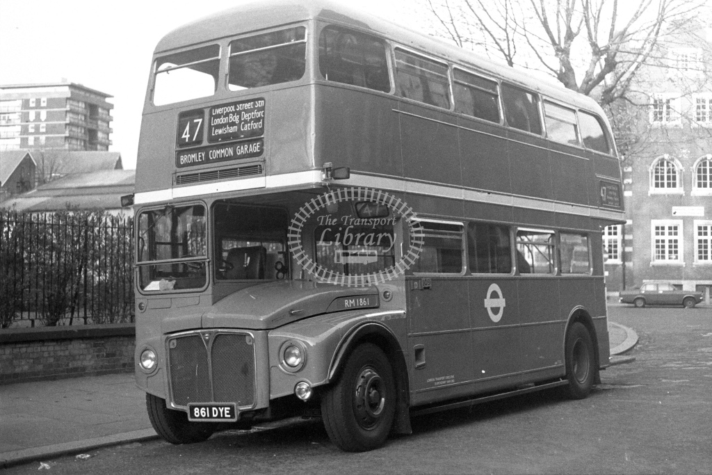 London Transport AEC Routemaster RM1861  on route 47 861DYE  at Shoreditch  in 1980s - JGS Smith