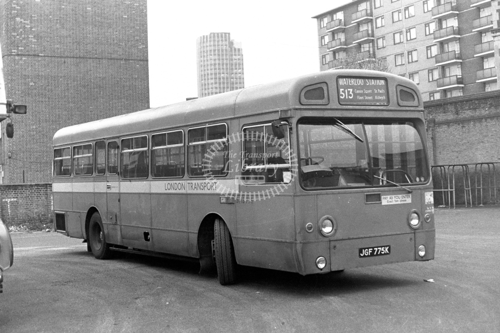 London Transport AEC Swift SMS775  on route 513 JGF775K  at Waterloo  in 1980s - JGS Smith