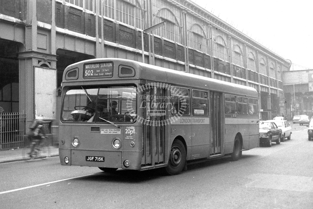 London Transport AEC Swift SMS715  on route 502 JGF715K  at Waterloo  in 1980s - JGS Smith