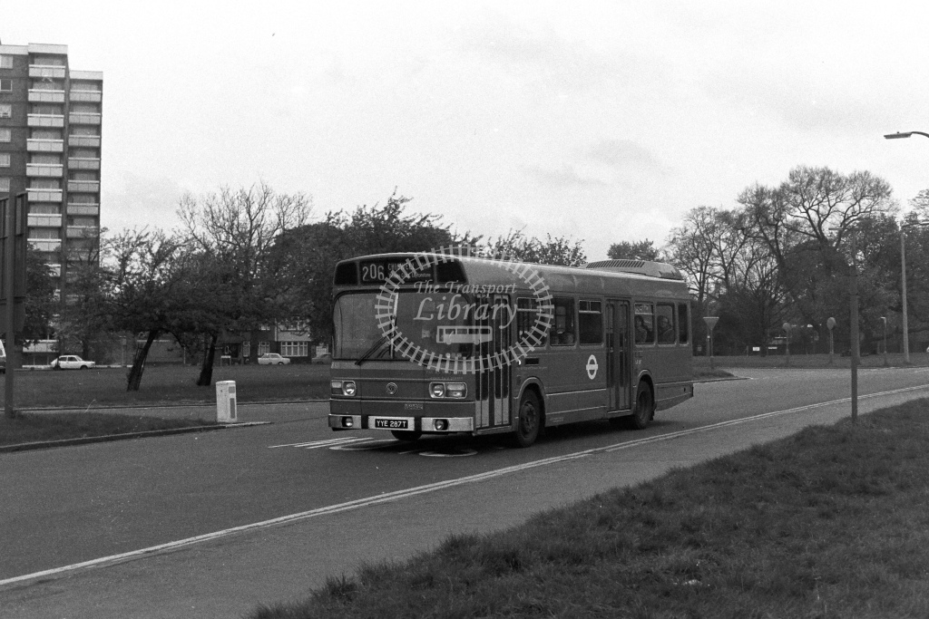 London Transport Leyland National LS287  on route 206 YYE287T  at Whipps Cross  in 1980s - JGS Smith