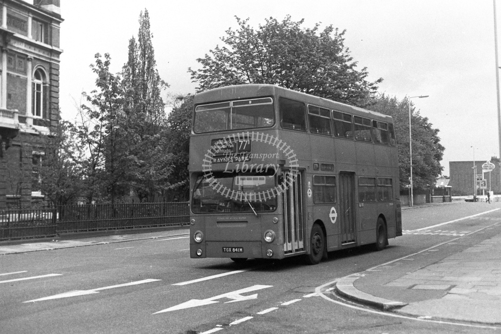London Transport Daimler Fleetline DMS841  on route 77B TGX841M  in 1980s - JGS Smith