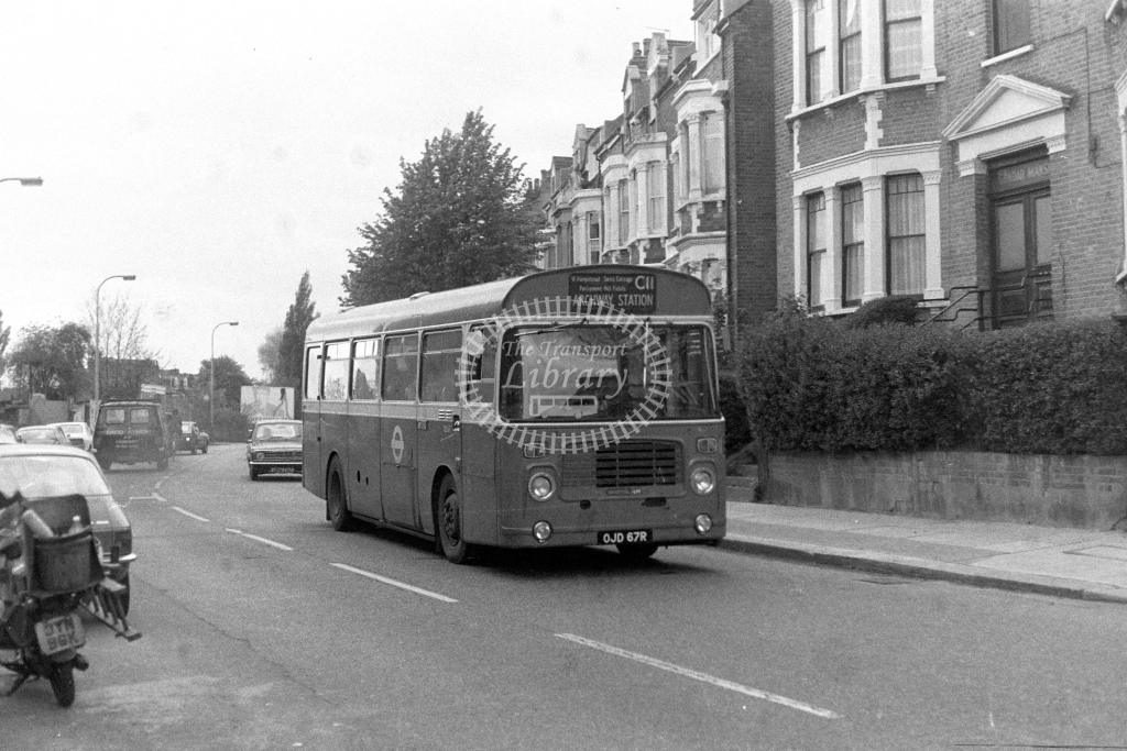 London Transport Bristol LH BL67  on route C11 OJD67R  at West Hampstead  in 1980s - JGS Smith