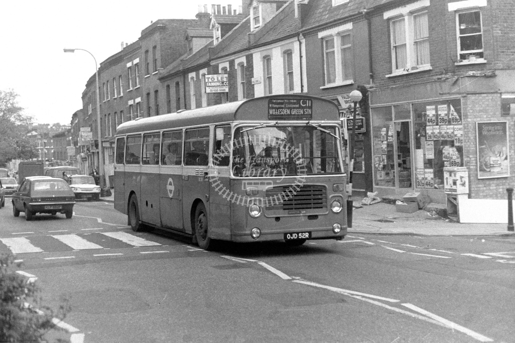 London Transport Bristol LH BL52  on route C11 OJD52R  at West Hampstead  in 1980s - JGS Smith