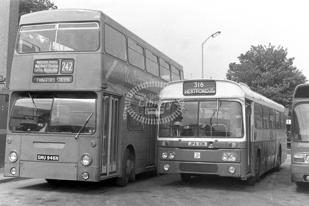 London Transport Daimler Fleetline DM946  on route 242 SMU946N  at Waltham Cross  in 1980s - JGS Smith