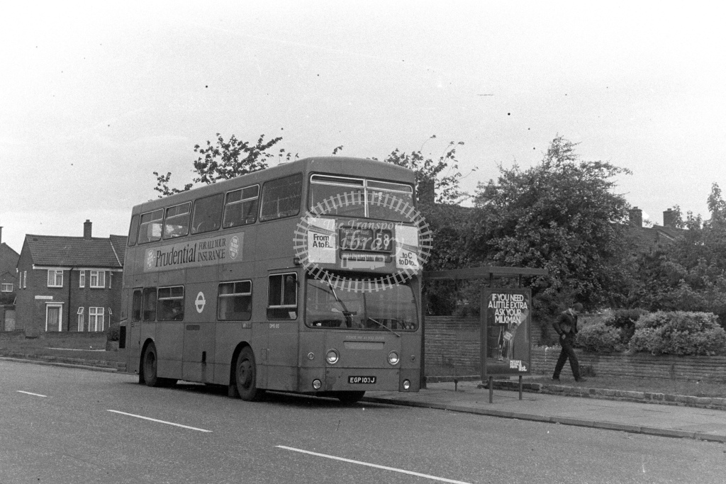 London Transport Daimler Fleetline DMS103  on route 58 EGP103J  in 1980s - JGS Smith
