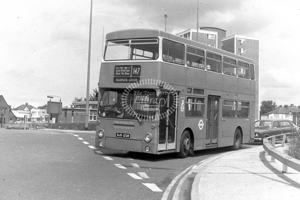 London Transport Leyland Fleetline DMS2123  on route 147 OJD123R  at Redbridge  in 1980s - JGS Smith
