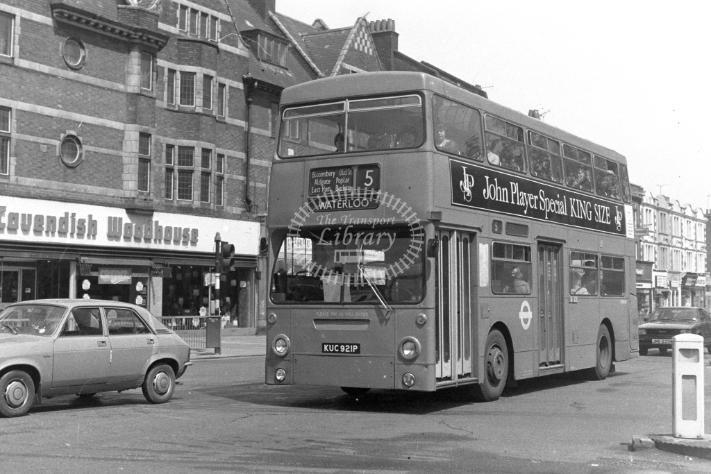 London Transport Daimler Fleetline DMS1921  on route 5 KUC921P  at East Ham  in 1980s - JGS Smith