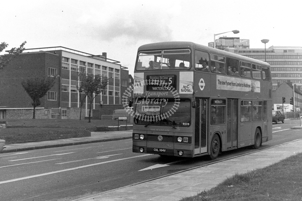 London Transport Leyland Titan T164  on route 5 CUL164V  at Barking  in 1980s - JGS Smith