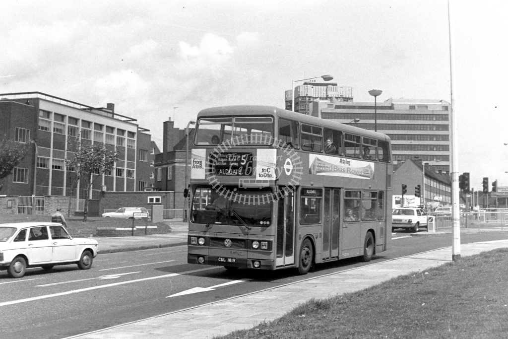 London Transport Leyland Titan T181  on route 5 CUL181V  at Barking  in 1980s - JGS Smith