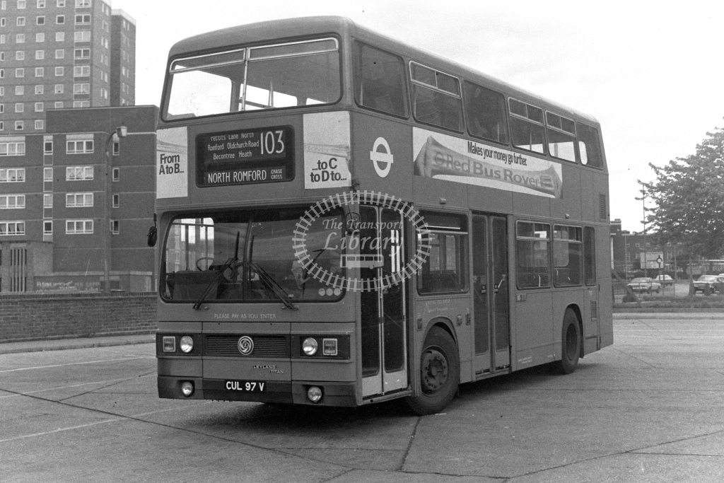 London Transport Leyland Titan T97  on route 103 CUL97V  at Becontree Heath  in 1980s - JGS Smith