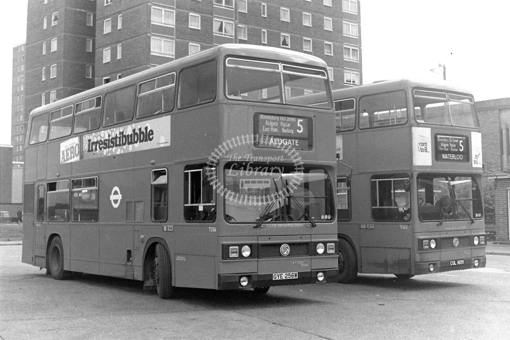 London Transport Leyland Titan T256  on route 5 GYE256E  at Becontree Heath  in 1980s - JGS Smith