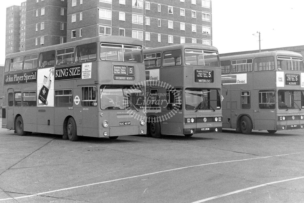 London Transport Daimler Fleetline DMS1925  on route 5 KUC925P  at Becontree Heath  in 1980s - JGS Smith