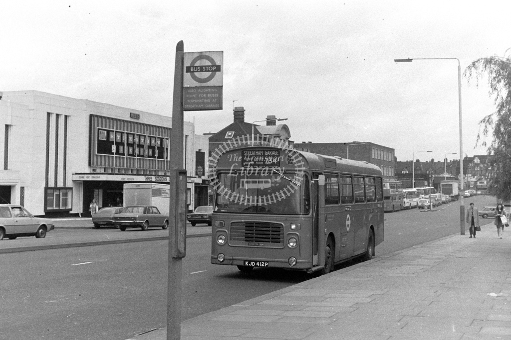 London Transport Bristol LH BL12  on route 234A KJD412P  at Streatham  in 1980s - JGS Smith