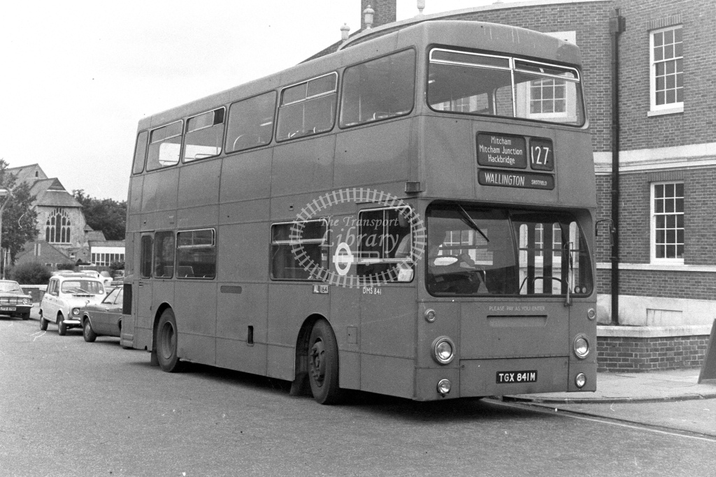 London Transport Daimler Fleetline DMS841  on route 127 TGX841M  at Wallington  in 1980s - JGS Smith