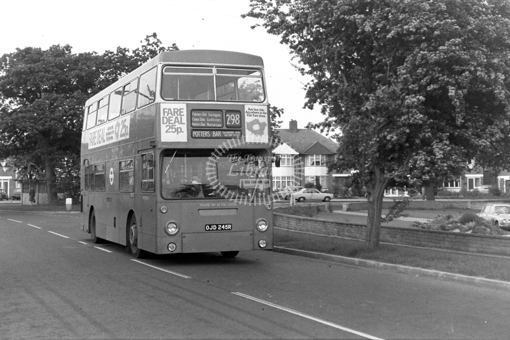 London Transport Leyland Fleetline DMS2245  on route 298 OJD245R  in 1980s - JGS Smith