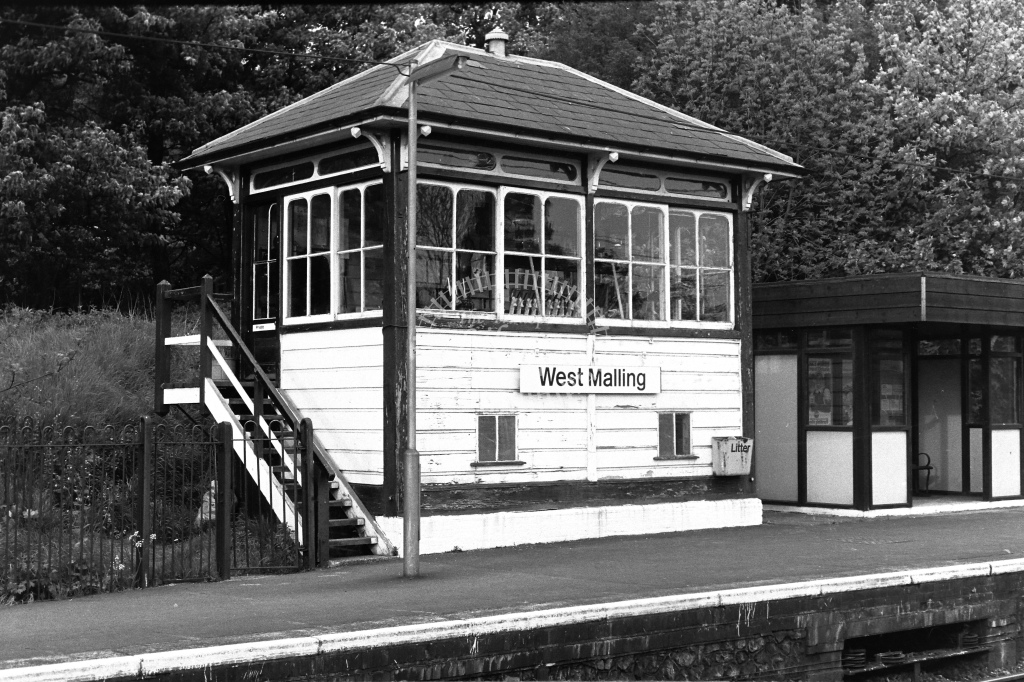 British Rail Signal Box  at West Malling  in 1980s - JGS Smith