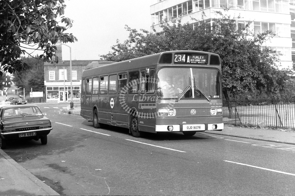 London Transport Leyland National LS907  on route 234A OJD907R  in 1980s - JGS Smith