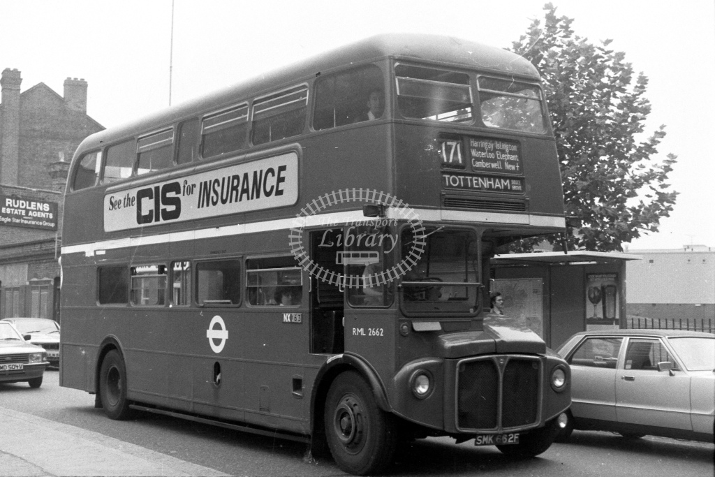 London Transport AEC Routemaster RML2662  on route 171 SMK662F  in 1980s - JGS Smith