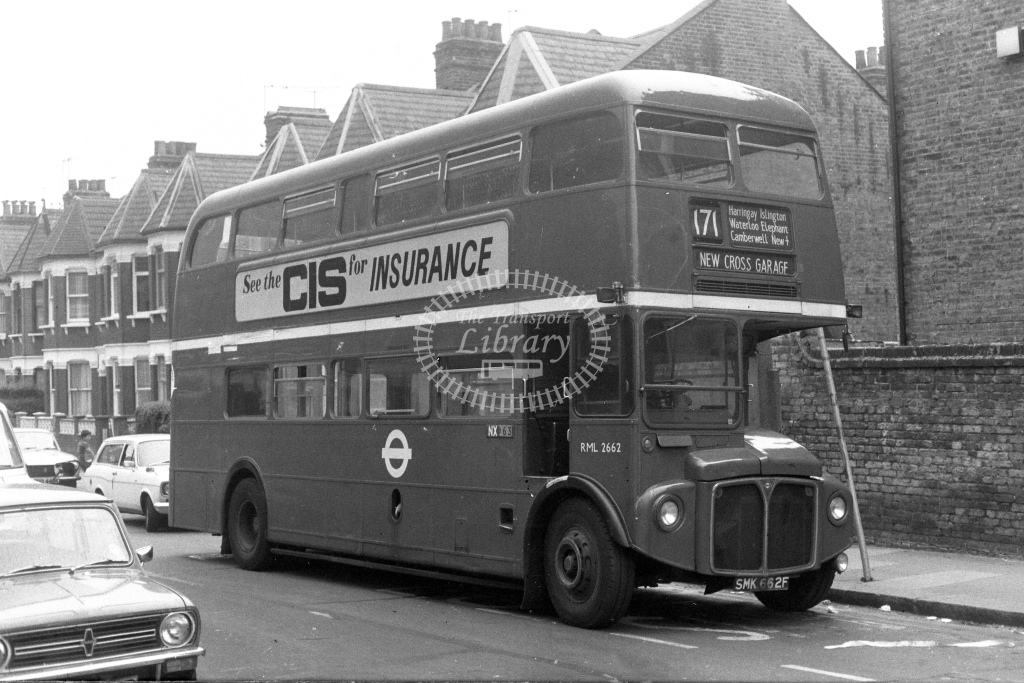 London Transport AEC Routemaster RML2662  on route 171 SMK662F  at Tottenham  in 1980s - JGS Smith