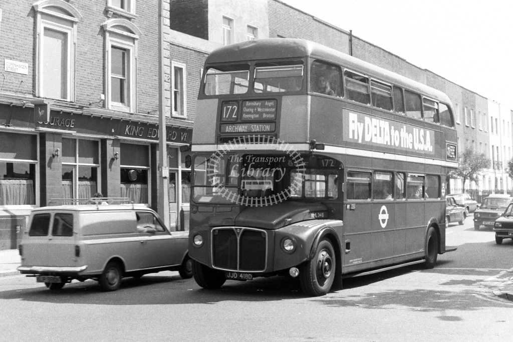 London Transport AEC Routemaster RML2418  on route 172 JJD418D  at Islington  in 1980s - JGS Smith