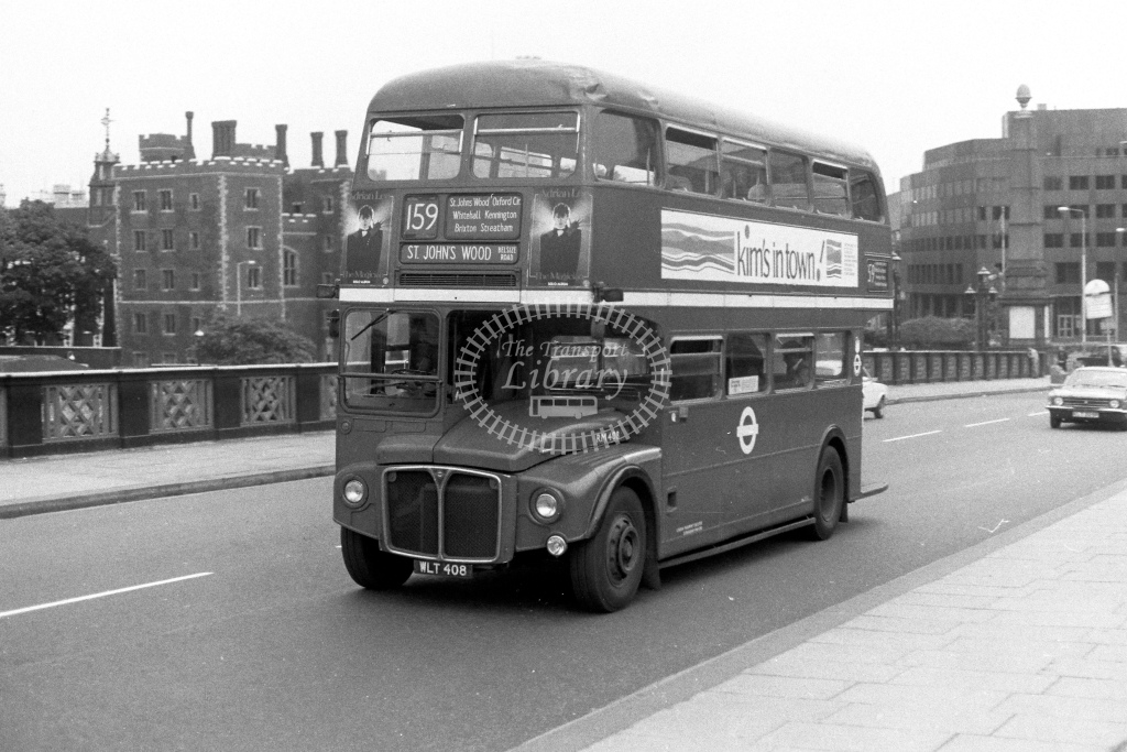 London Transport AEC Routemaster RM408  on route 159 WLT408  at Lambeth Bridge  in 1980s - JGS Smith