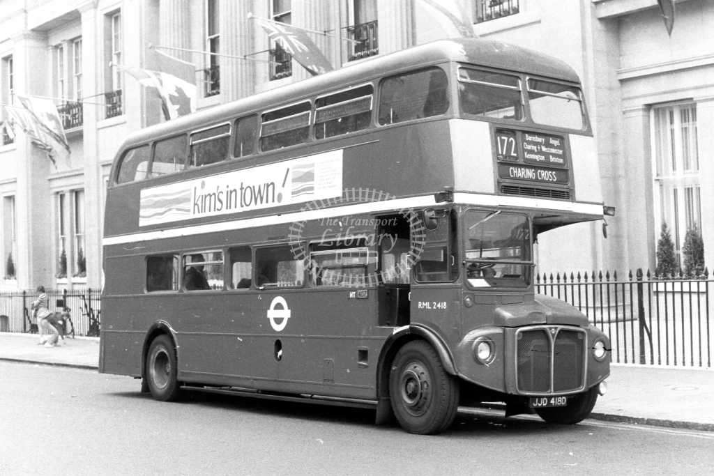 London Transport AEC Routemaster RML2418  on route 172 JJD418D  at Charing Cross  in 1980s - JGS Smith
