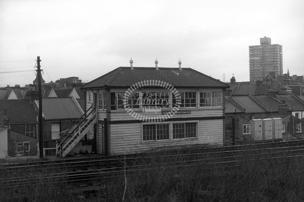 British Rail Signal Box  at Latchmere Junction Signal Box  in 1980s - JGS Smith