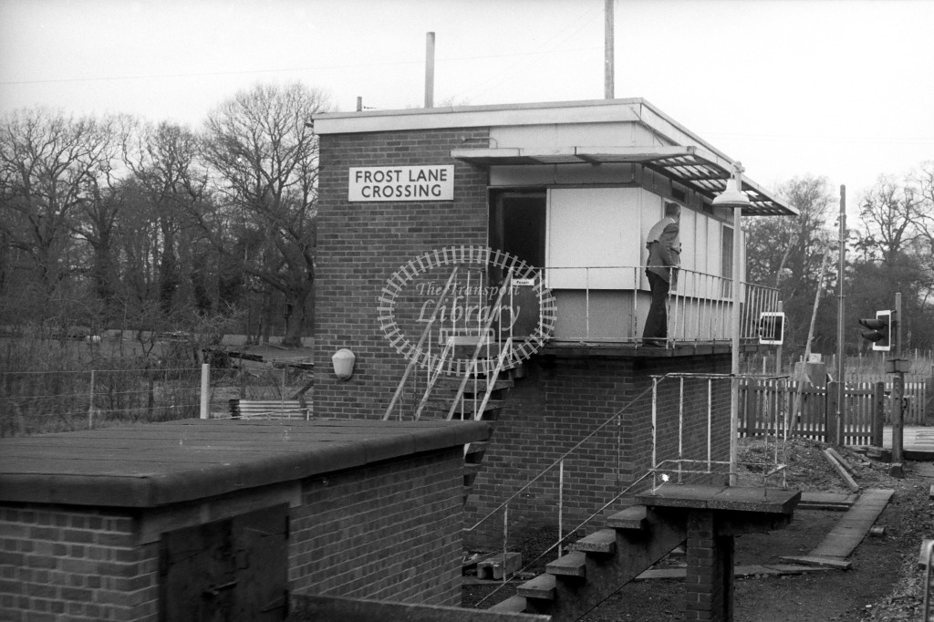 British Rail Signal Box  at Frost Lane Crossing  in 1980s - JGS Smith