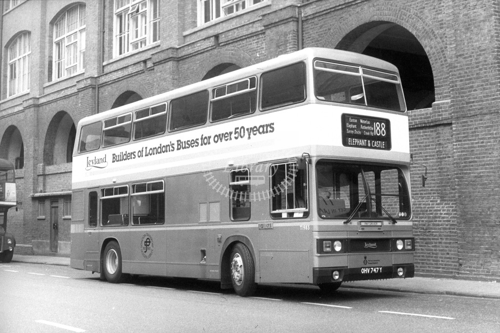 London Transport Leyland Titan T747 OHV747Y  on route 188  at Kings Cross  in 1980s - JGS Smith