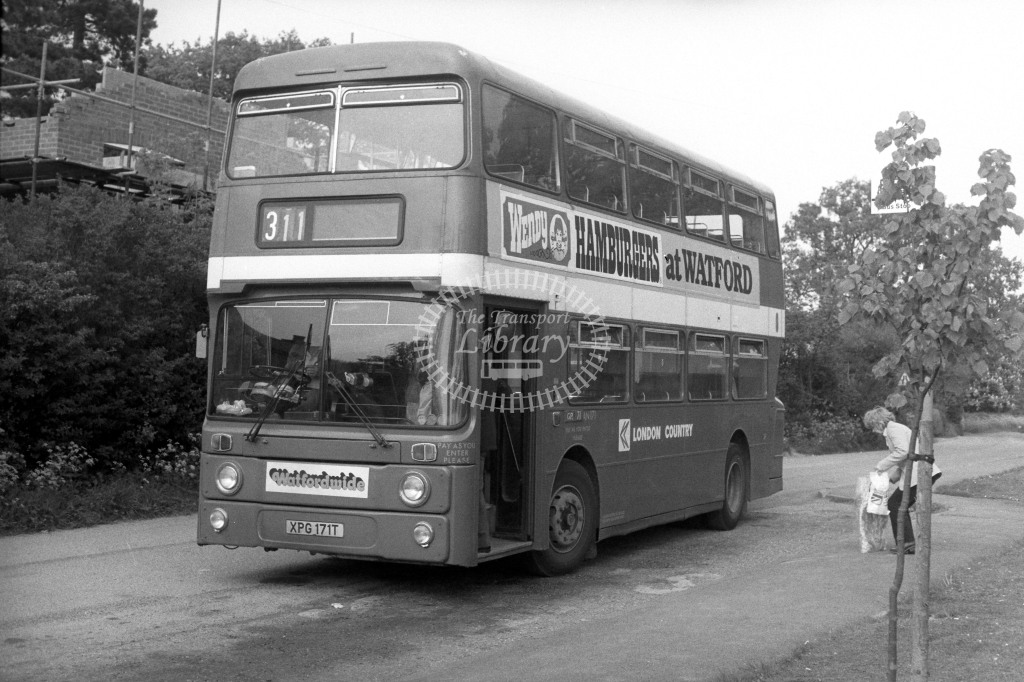 London Country Leyland Atlantean AN171 XPG171T  on route 311  in 1980s - JGS Smith